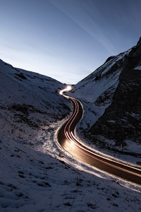 240x320 Snowy Road Way Long Exposure