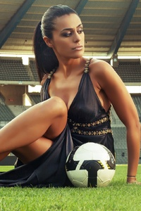 480x800 Soccer Girl With Football In Stadium