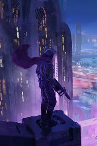 Soldier With Cape Gun Scifi Neon City 4k