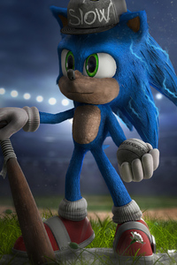 480x800 Sonic The Hedgehog Playing Baseball