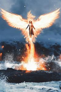 1242x2688 Sophie Turner As Phoenix Fanart 4k