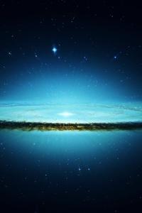 Space Galaxy Cyan Stars 4k