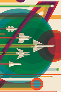 Spaceship Vector Solar System Planets Planes Sci Fi Artistic