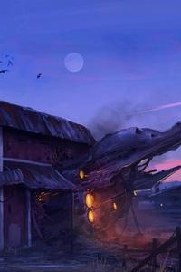 Spaceship Wrecked House 4k
