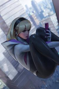 240x400 Spider Gwen Using Phone