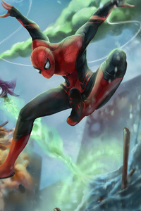 1080x2160 Spider Man Farfrom Home Artwork
