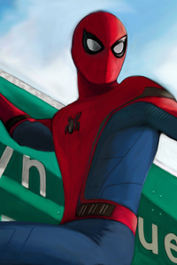640x960 Spider Man Homecoming On Sign Board Artwork