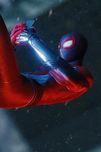 Spider Man Miles Morales Using Phone 4k