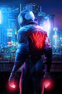 800x1280 Spider Man Miles Morales X Cyberpunk 2077 4k