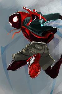 1242x2688 Spider Man Miles Red