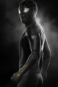Spider Man No Way Home Black Gold Suit 4k