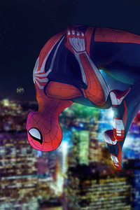 240x400 Spider Man PS4 Digital Illustration 8k