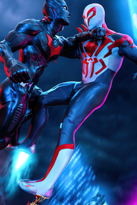 750x1334 Spiderman 2077 Vs Batman Beyond 5k
