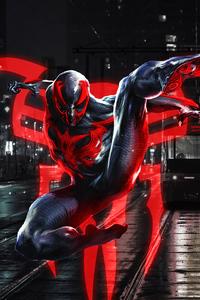 1125x2436 Spiderman 2099 Blue Neon