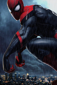 750x1334 Spiderman 4k Raining