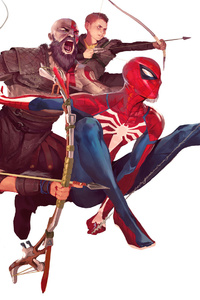 540x960 Spiderman And God Of War Characters Art