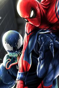 640x960 Spiderman And Venom Art