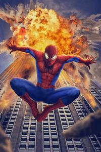 Spiderman Behind Buliding Destruction