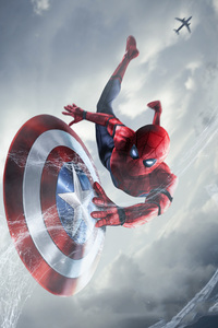 1440x2960 Spiderman Catching Captain America Shield