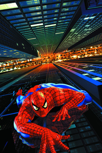 1125x2436 Spiderman Climbing Building Digital Art 5k