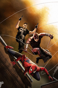 720x1280 Spiderman Daredevil Punisher Fan Art