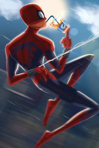 2160x3840 Spiderman Drinking Juice