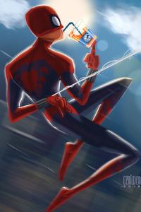 Spiderman Drinking Soda