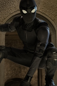 320x480 Spiderman Far From Home Black Suit