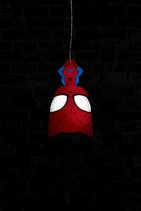 480x854 Spiderman Hanging Dark 4k