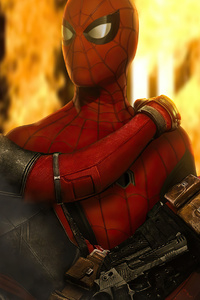 320x568 Spiderman Holding Deadpool