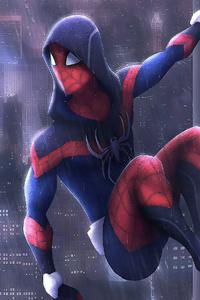 750x1334 Spiderman In Rain Art