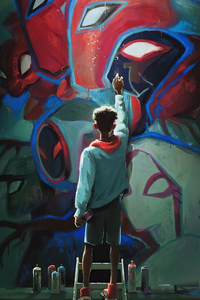 Spiderman Into The Spider Verse Paint Art 4k