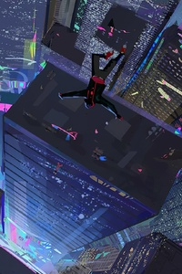 2160x3840 Spiderman Into The Spider Verse Straight Down 4k