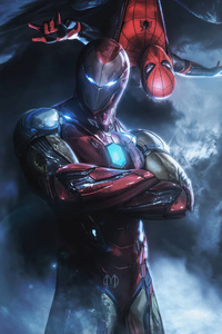 Spiderman Iron Man Mentor 4k