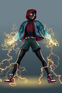 480x800 Spiderman Lightning Mood 5k