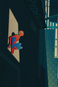 Spiderman Looking Through Window