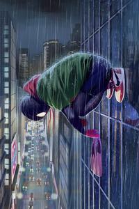 1080x2160 Spiderman Miles In Rain