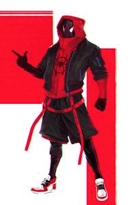 1440x2960 Spiderman Miles Morales Hoodie Suit