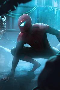 480x800 Spiderman Neon Glowing World 5k