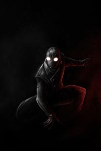 2160x3840 Spiderman Noir Black Suit Minimal 5k