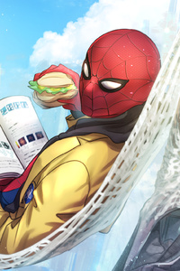 Spiderman Reading Book Eating Burger