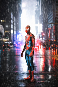 240x320 Spiderman Standing In Rain
