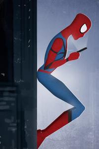 Spiderman Using Phone