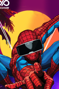 Spiderman Using VR Headset