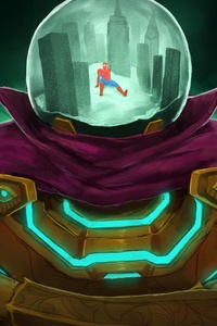 640x960 Spiderman Vs Mysterio 8k Art