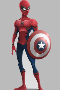 1440x2960 Spiderman With Captain America Shield