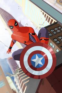 Spiderman With Captain America Shield Art