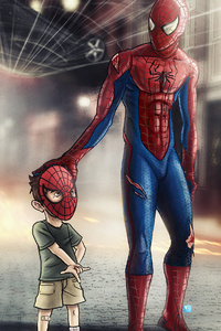 Spiderman With Child 4k