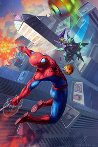 Spidey V Goblin Comic Art 4k