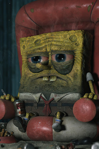 640x1136 Spongebob Tired